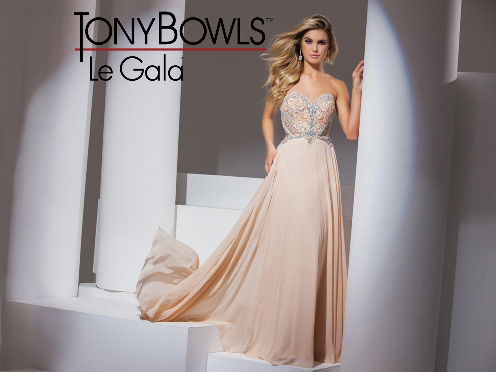 Tony bowls evening and prom gown peach