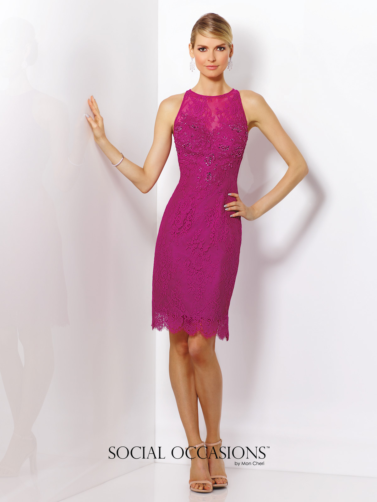116837 social occasion fuchsia halter dress