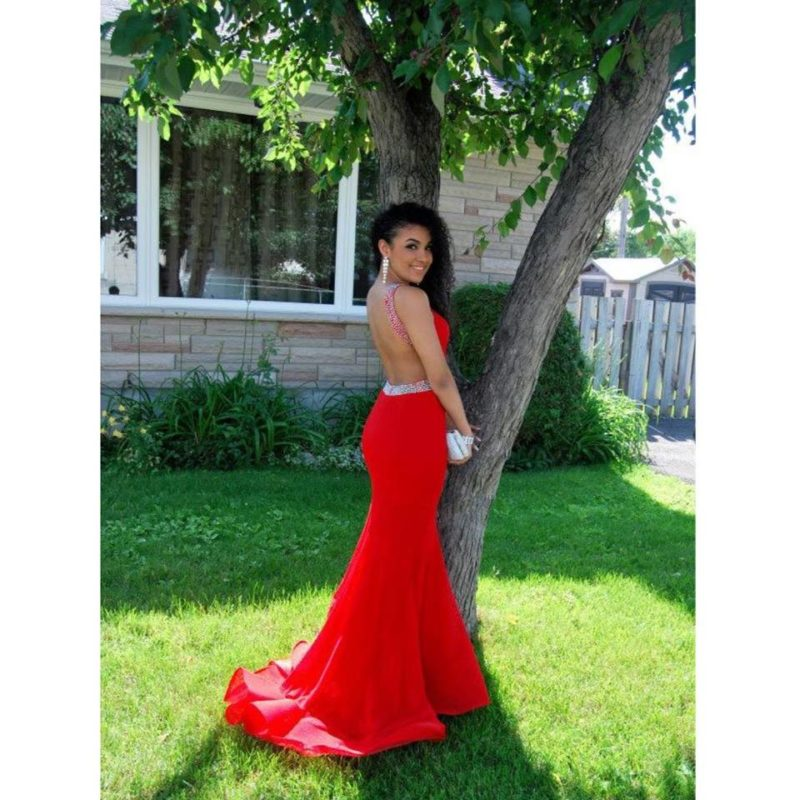 red open back prom dress Ottawa client photo