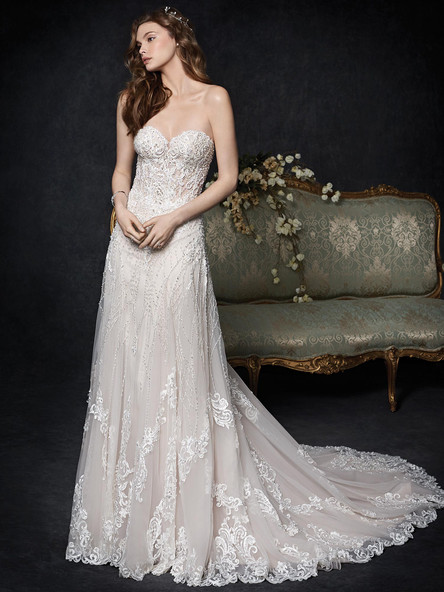 aline sheered top wedding gown with lace and deading