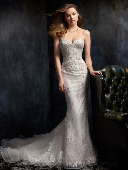 sweetheart simple beaded wedding dress
