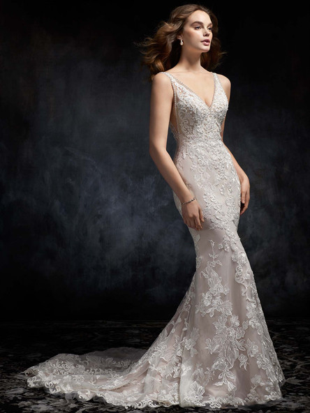 lace wedding dress with vneck and low back