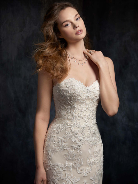 sweetheart drop waist wedding dress