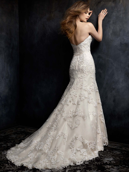 full lace simple drop waist wedding dress