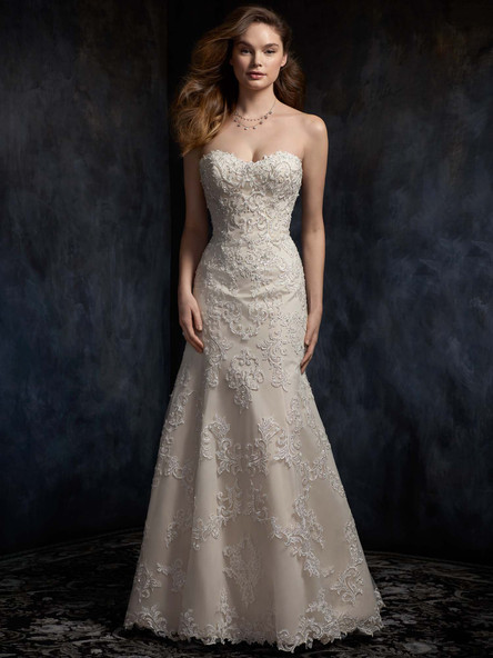simple lace drop waist wedding dress with sweetheart