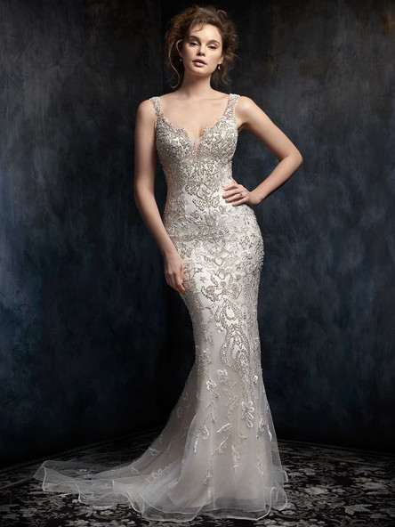 fitted wedding dress beaded with straps
