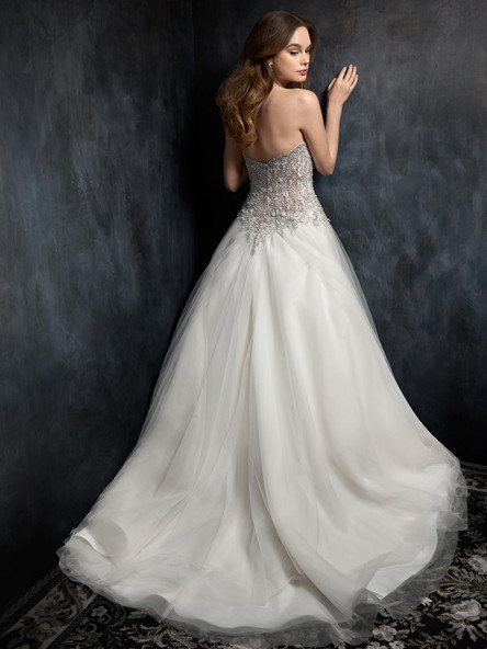 beaded ball gown with tulle skirt long train