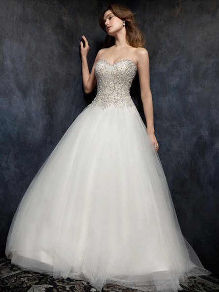 beaded top ball gown with sweet heart and tulle skirt