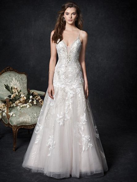 lace aline wedding dress with plunging neckline and low back
