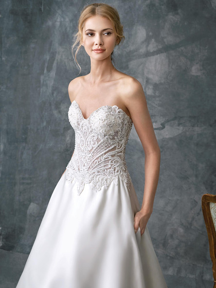 satin a line wedding dress with detailed top
