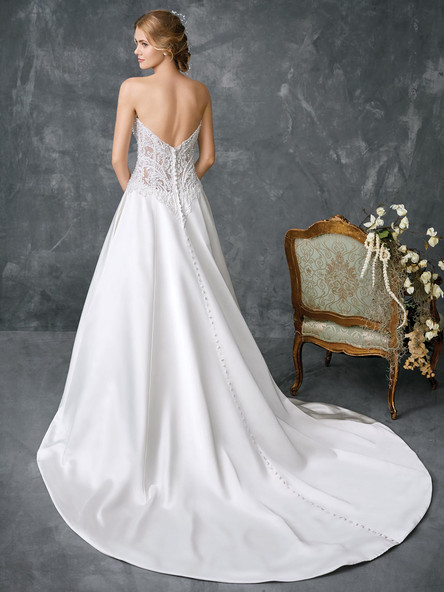 satin aline wedding gown with long train