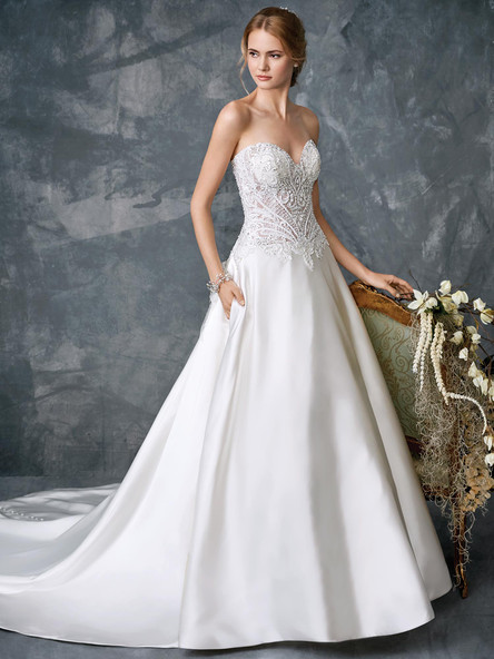 satin wedding dress a line with sweetheart neckline