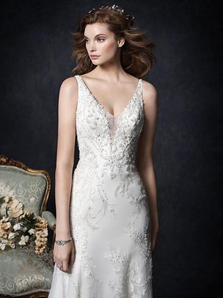 plunging neckline lace straps wedding dress