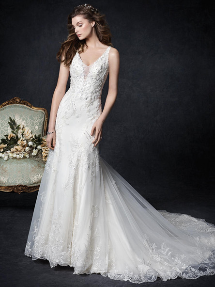 lace wedding dress with plunging neckline sheer back