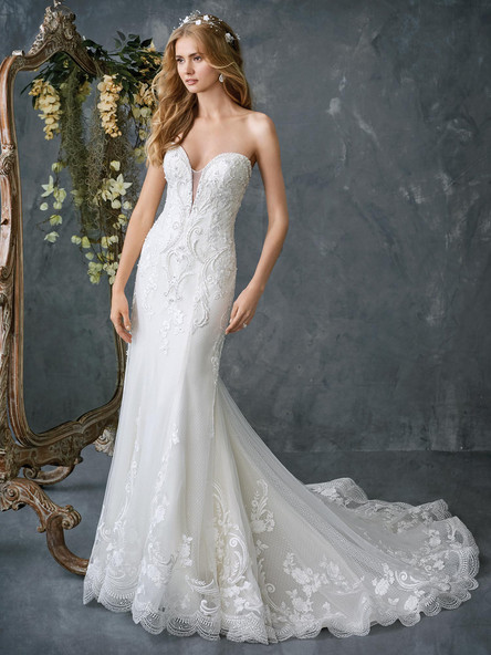 lace wedding dress plunging neckline