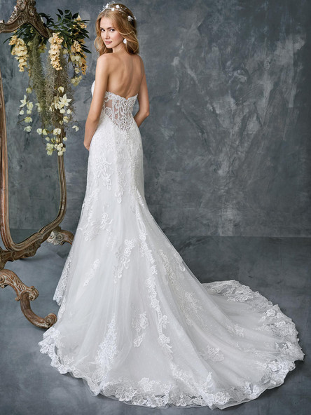 sheer back mermaid wedding dress