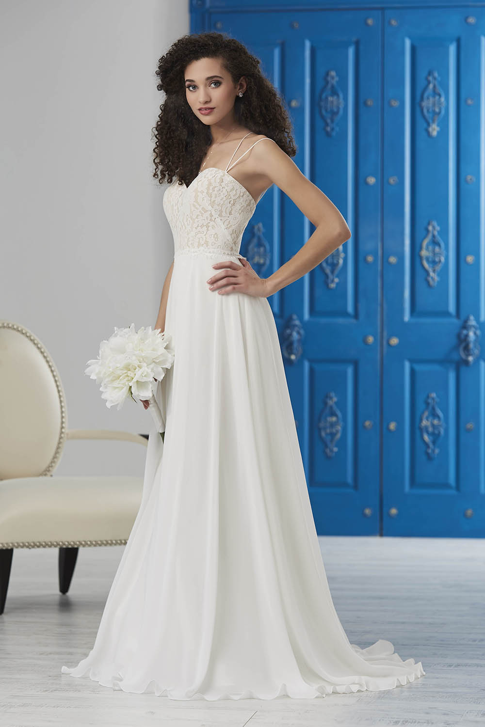 simple destination chiffon wedding dress with cool back and lace bust