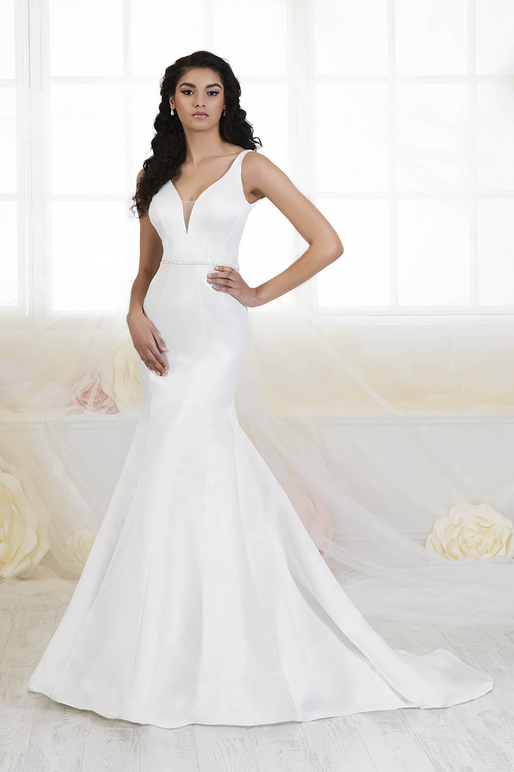 vneck simple satim wedding gown