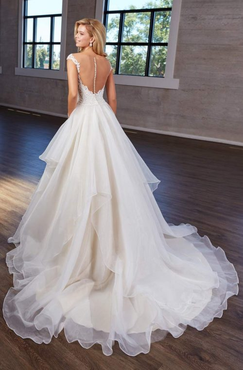 ruffle ball gown lace topered low back