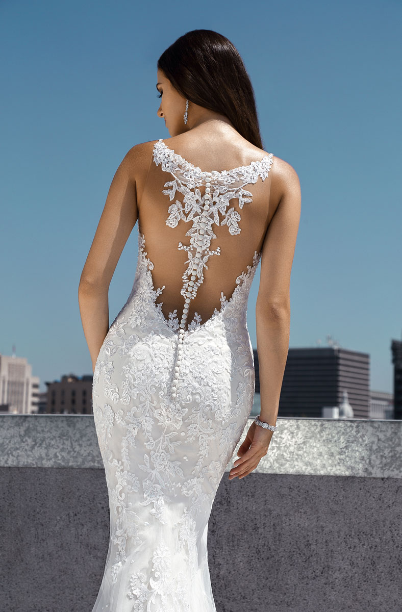 low back simple lace wedding dress