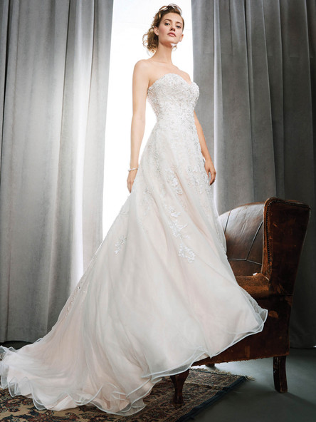 fully beaded wedding dress with sweetheart neckline and aline skirt