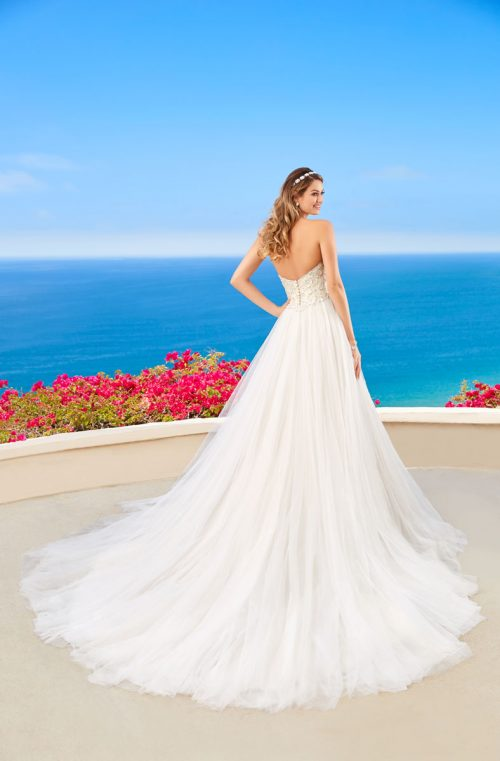 sweetheart beaded top ball gown sequence skirt long train