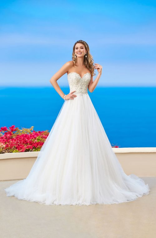 sweetheart beaded top ball gown sequence skirt