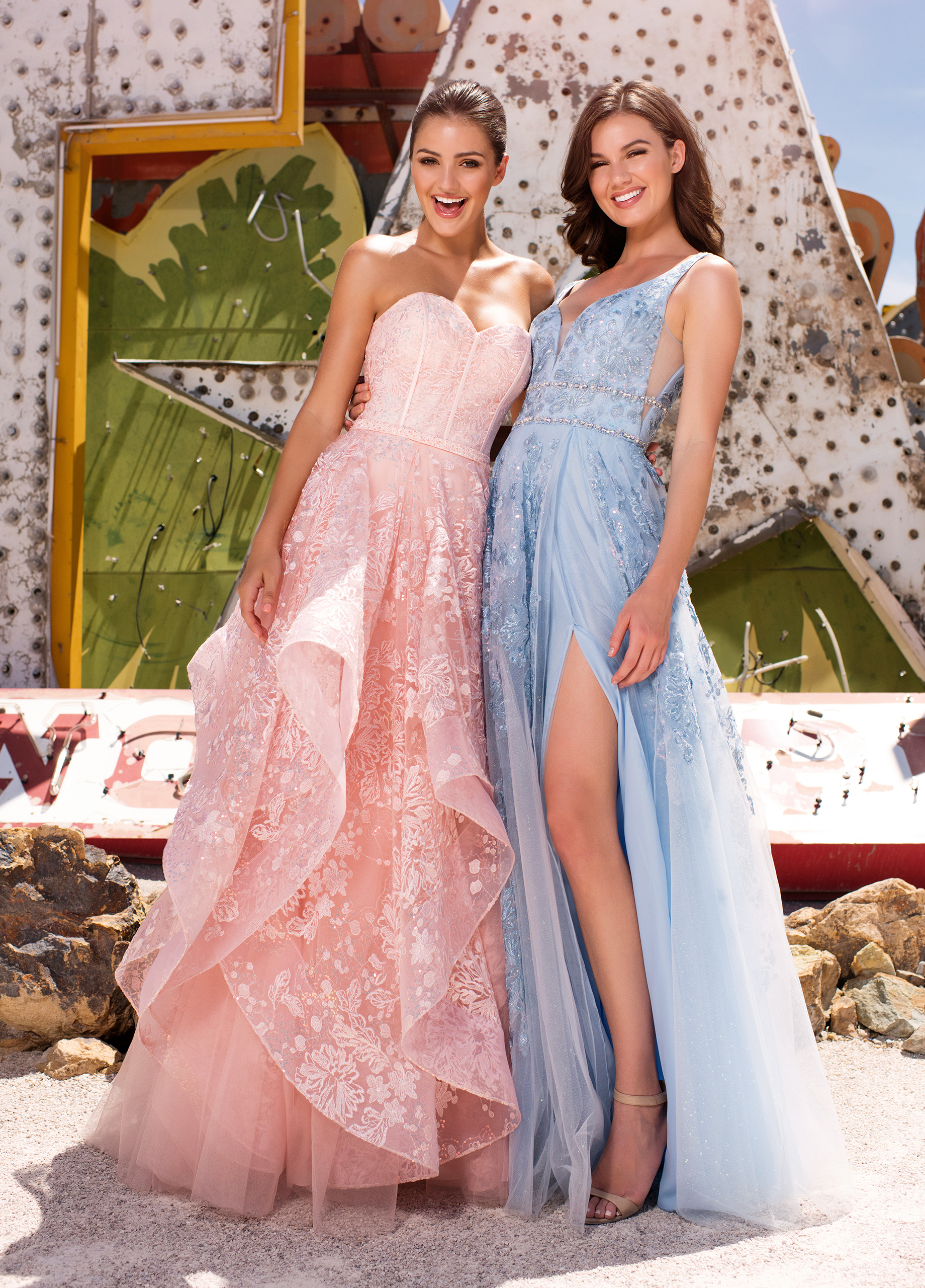 prom dress pink blue slit with ruffles